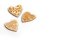 Piękni Ślubni bożych narodzeń lub valentines rocznika nieociosani drewniani serca Zdjęcia Stock