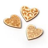 Piękni Ślubni bożych narodzeń lub valentines rocznika nieociosani drewniani serca Zdjęcie Royalty Free