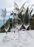 Piękni ślubni szkła Zdjęcia Royalty Free
