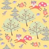Piękni śmieszni lisy baraszkują w jesień lesie wśród drzew i róż odizolowywających na żółtym tle w wektorze ilustracji