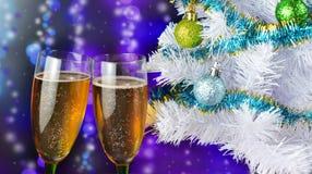 Piękni świąteczni win szkła z napojem szampan Obrazy Stock
