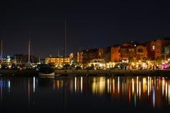 Piękni światła Marina w Hurghada przy nocą, Egipt obraz royalty free