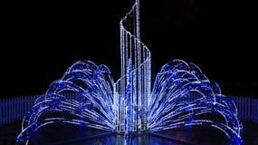 Piękni światła w nowy rok wakacjach w nocy Zdjęcie Royalty Free