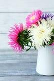 Piękni astery w dzbanku zdjęcia stock