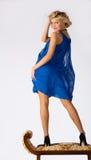 piękni błękit sukni dziewczyny potomstwa Obraz Royalty Free