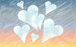 Piękni błękitni serca rysujący w ocienionym stylu przeciw tłu świt Fotografia Stock