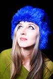 piękni błękitny kapeluszowi zima kobiety potomstwa Obrazy Royalty Free
