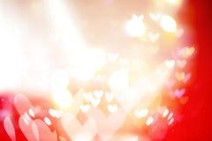 Piękni błyszczący serca i abstraktów światła Obraz Stock