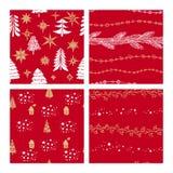 Piękni bezszwowi boże narodzenia i zima wzory, rysujący ręcznie Wiele świąteczni wzory i elementy ilustracja wektor