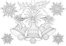 Piękni Bożenarodzeniowi dzwony, łęk i liście z spada płatek śniegu dla, kart, ilustracji i kolorystyki książki strony dla antego  ilustracji
