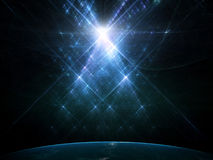 Piękni choinka promienie światło Zdjęcia Stock