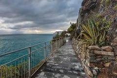 piękni cinque Italy Liguria miłości kochankowie terre jeden ścieżek pedestrians drogi terre Obraz Stock