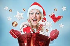 piękni Claus odzieżowi Santa kobiety potomstwa Fotografia Stock