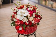 Piękni czerwieni i białych bukietów kwiaty w pudełku Zdjęcie Royalty Free