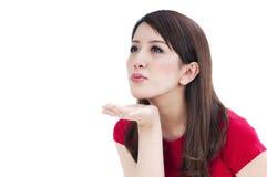 piękni dmuchania buziaka kobiety potomstwa obraz stock