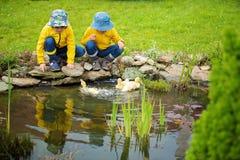 Piękni dzieci, bawić się z małymi kaczątkami w deszczu Obraz Royalty Free
