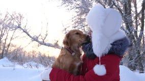 Piękni dziewczyna uśmiechy, pieścą jej ukochanego psa w zimie w parku dziewczyna z łowieckim psem chodzi w zimie w lesie zdjęcie wideo