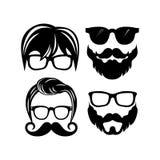 Piękni elementy dla kart z brodą, wąsami, kapeluszami i okularami przeciwsłonecznymi, royalty ilustracja
