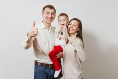 Piękni Europejscy młodzi ludzie na białym tle Emocje, rodzinny pojęcie Zdjęcia Stock
