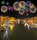 Piękni fajerwerki pod nocą, Wenecja Obraz Stock