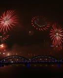 Piękni fajerwerki podczas Nowego Year's wigilii świętowania w Ryskim, Latvia fotografia royalty free