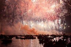 Piękni fajerwerki w Wenecja, Włochy zdjęcie stock