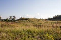 Piękni halni szczyty zakrywający z lasową i zieloną trawą dalej Obraz Royalty Free