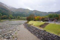 Piękni jesieni drzewa wzdłuż rzeki Shirakawa wioska Fotografia Royalty Free