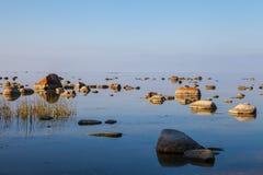 Piękni kamienie w zatoce morze bałtyckie przy Obrazy Stock