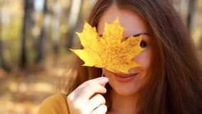 Piękni kobieta chwyty w ręka liściu klonowym w jesień słonecznym dniu w lesie z żółtymi i złotymi liśćmi zbiory wideo