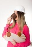 Piękni kobieta cywilnego inżyniera mienia projekty Zdjęcie Royalty Free