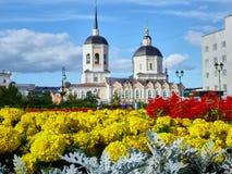 Piękni kolorowi kwiaty przy kościelnym tłem Obrazy Royalty Free