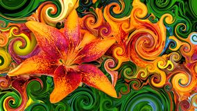 Piękni kolorowi pomarańcze i czerwieni okwitnięcia ilustracji