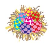 Piękni kolorowi Wielkanocni jajka odizolowywający Zdjęcie Royalty Free