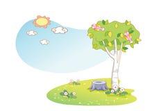 Piękni krajobrazowi drzewa ilustracja wektor