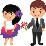 piękni kreskówki pary kwiaty Zdjęcia Stock