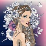piękni kwiatów kobiety potomstwa ilustracji