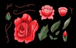 Piękni kwiaty hafciarscy Różany hafciarski wektor dla tekstylnych projektów elementów Obrazy Royalty Free