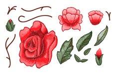 Piękni kwiaty hafciarscy Różany hafciarski wektor dla tekstylnych projektów elementów Zdjęcia Royalty Free