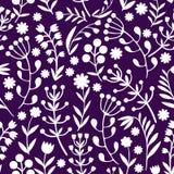 Piękni kwiaty ustawiają, Monochromatyczny Wektorowy bezszwowy wzór Obraz Stock