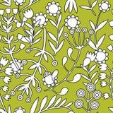 Piękni kwiaty ustawiają, Monochromatyczny Wektorowy bezszwowy wzór Zdjęcie Stock