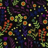 Piękni kwiaty ustawiający, Wektorowy bezszwowy wzór Zdjęcie Royalty Free