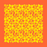 Kolor żółty kwitnie na pomarańczowym tle Zdjęcia Stock