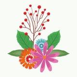 Piękni kwiaty z liśćmi Obrazy Royalty Free