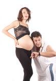 piękni mężczyzna kobieta w ciąży potomstwa Obraz Royalty Free