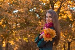 Piękni młoda dziewczyna stojaki przeciw tłu jesienni drzewa i ono uśmiecha się Zdjęcie Royalty Free