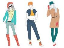 Piękni młodej kobiety damy modele w przypadkowych nowożytnych mod ubraniach odizolowywających Płascy nakreślenie linii dziewczyn  ilustracji