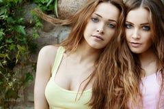 Piękni młodzi bliźniacy outdoors Zdjęcia Royalty Free