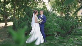 Piękni młodzi nowożeńcy outdoors w lato parku zbiory wideo