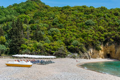 Piękni Megie Ammos wyrzucać na brzeg przy Syvota, Grecja Zdjęcia Stock